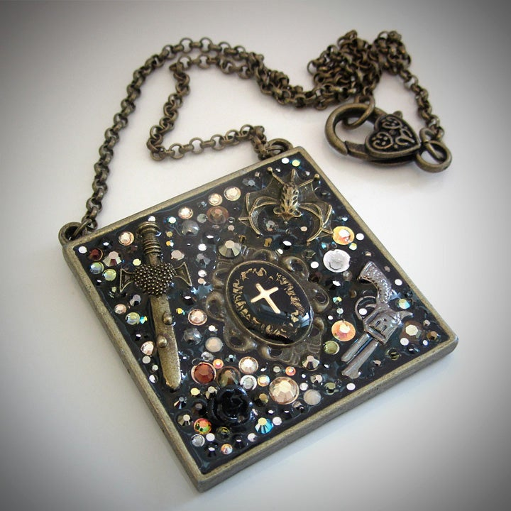 Metal Rocks Large Square Bronze Pendant  * ON SALE - Was £75 now £40 *