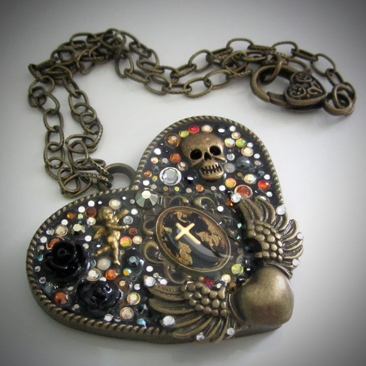 Metal Rocks Large Heart Bronze Pendant  * ON SALE - Was £75 now £38 *