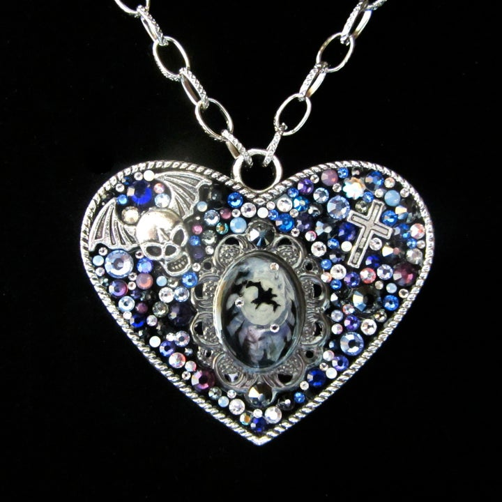 Midnight Rocks Large Heart Silver Pendant  * ON SALE - Was £75 now £38 *