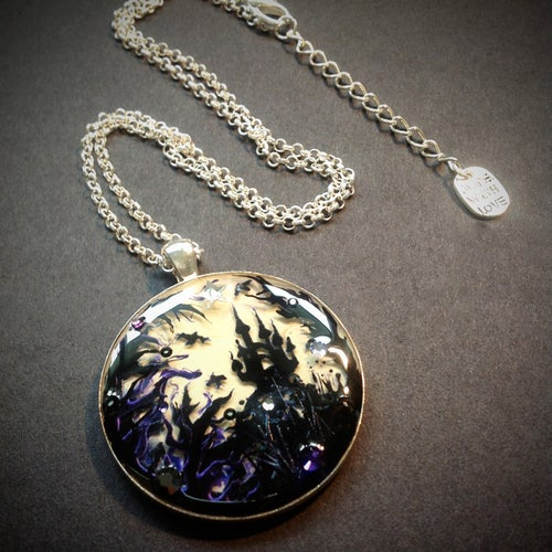 Image of Forest Macabre Large Round Silver Pendant