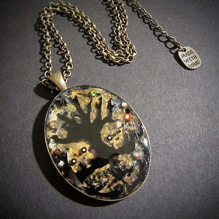 Autumnal Tree Oval Bronze Pendant  * ON SALE - Was £15 now £10 *