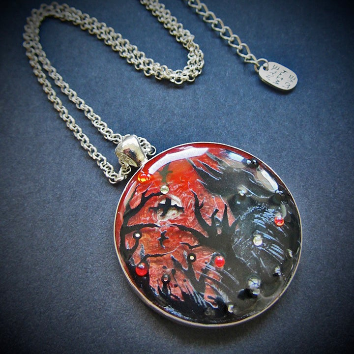 Vampire's Sunset Large Round Silver Pendant