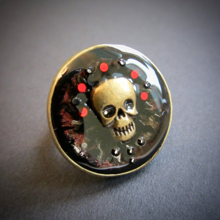 Image of Ruby Rocks Skullie Bronze Ring