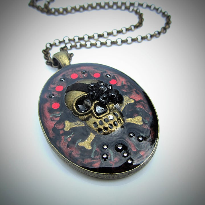 Image of Ruby Rocks Skullie Bronze Pendant