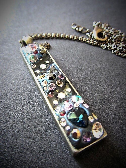 Image of Midnight Rocks Long Skinny Pewter Pendant