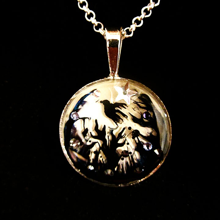 Forest Macabre Silver Round Pendant