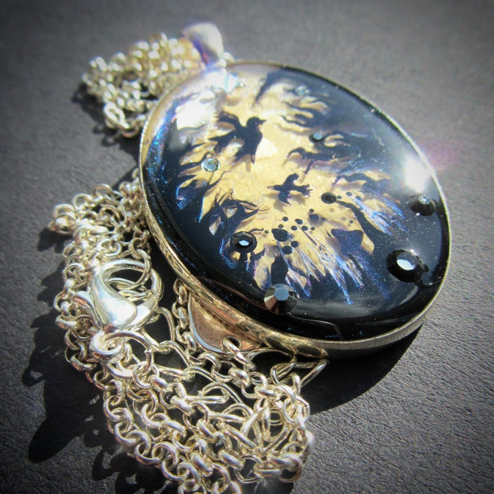Forest Macabre Oval Silver Pendant