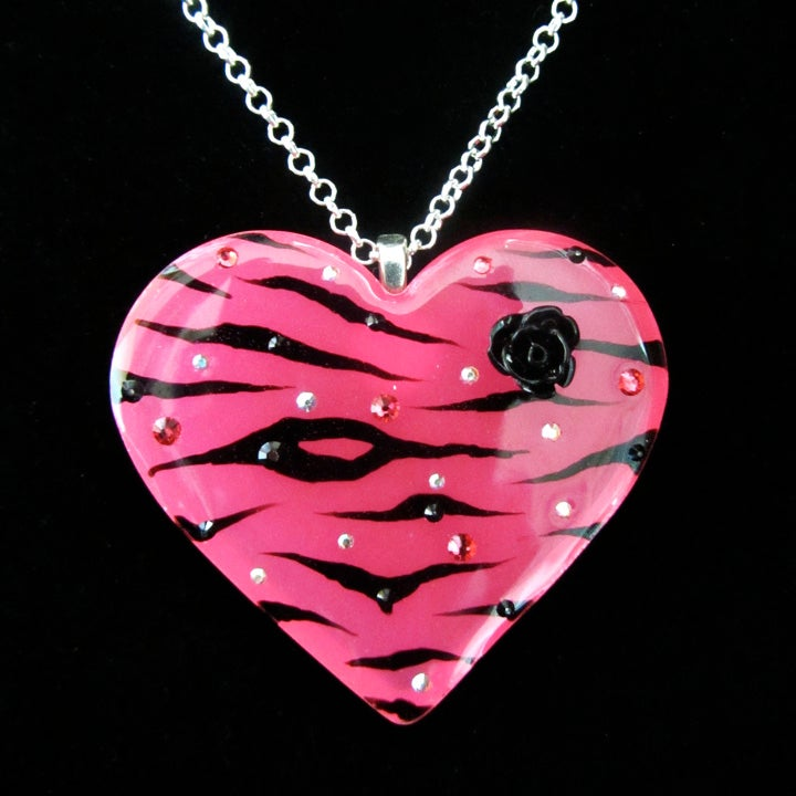 Hot Pink Zebra Stripe Resin Heart Pendant