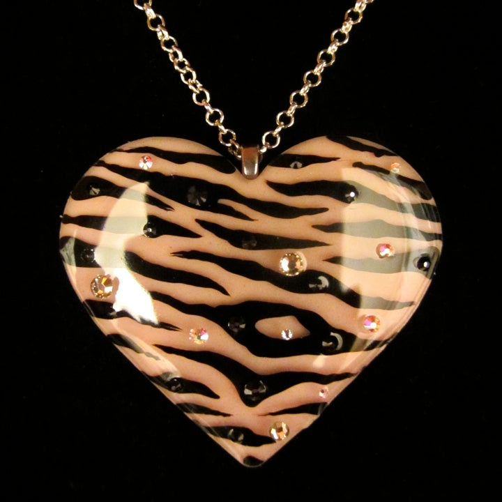 Blush Pink Zebra Stripe Resin Heart Pendant - ON SALE - WAS £14 NOW £10