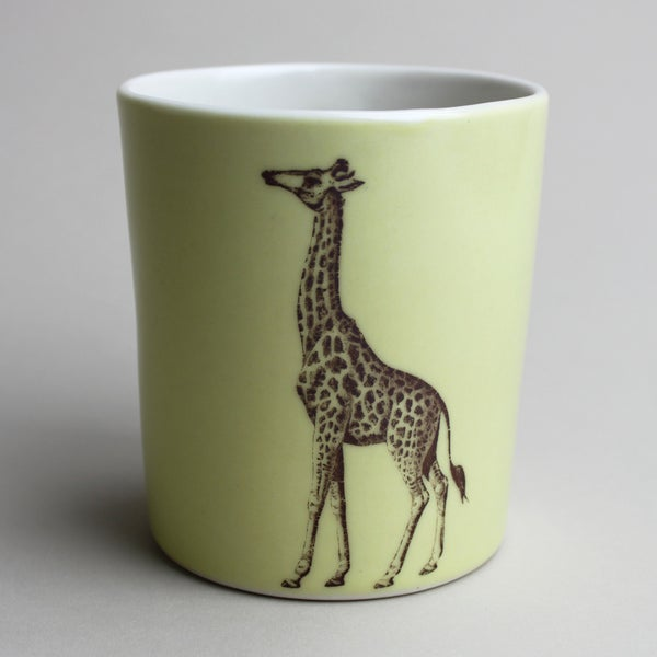 Image of 16oz tumbler with giraffe, mustard