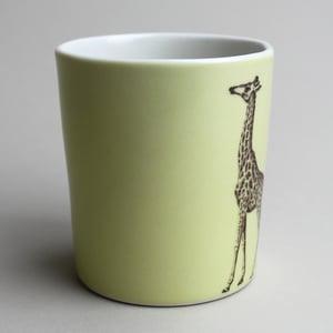 Image of 16oz tumbler with giraffe, mustard