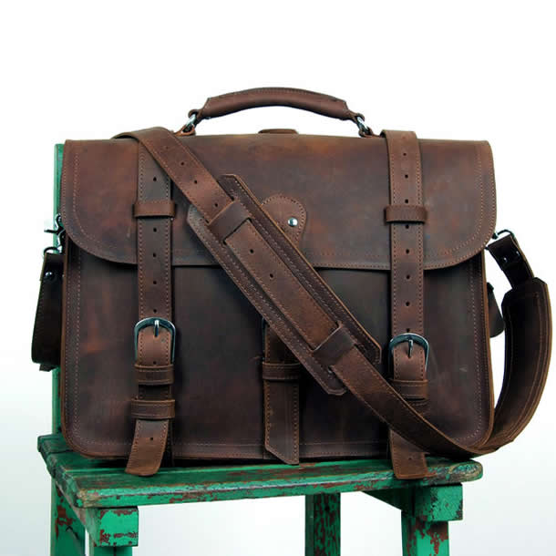 Image of Men s Large Vintage Handmade Leather Briefcase   Travel Bag    Satchel - Backpack