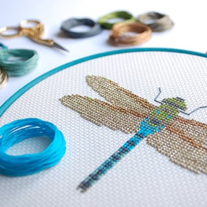 Image of Blue Dragonfly cross-stitch PDF pattern