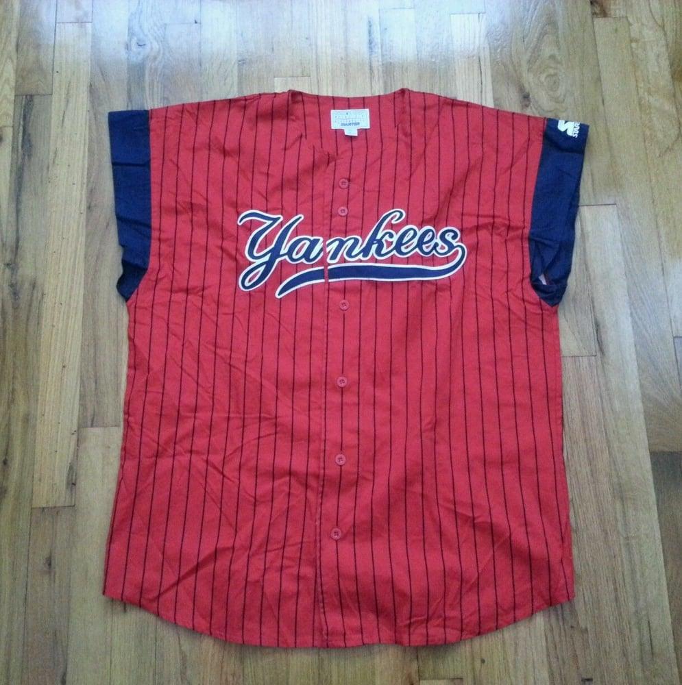 sale retailer 895a4 9e818 Vtg 90s Starter Sewn NEW YORK YANKEES Red Adult XL Baseball Jersey
