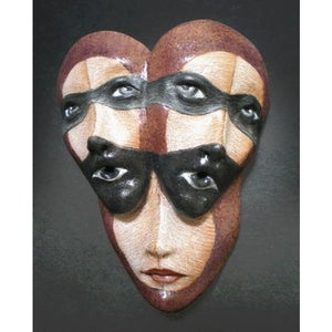 Image of Altered Ego - Mask Sculpture, Ceramic Mask Pendant, Original Mask Art