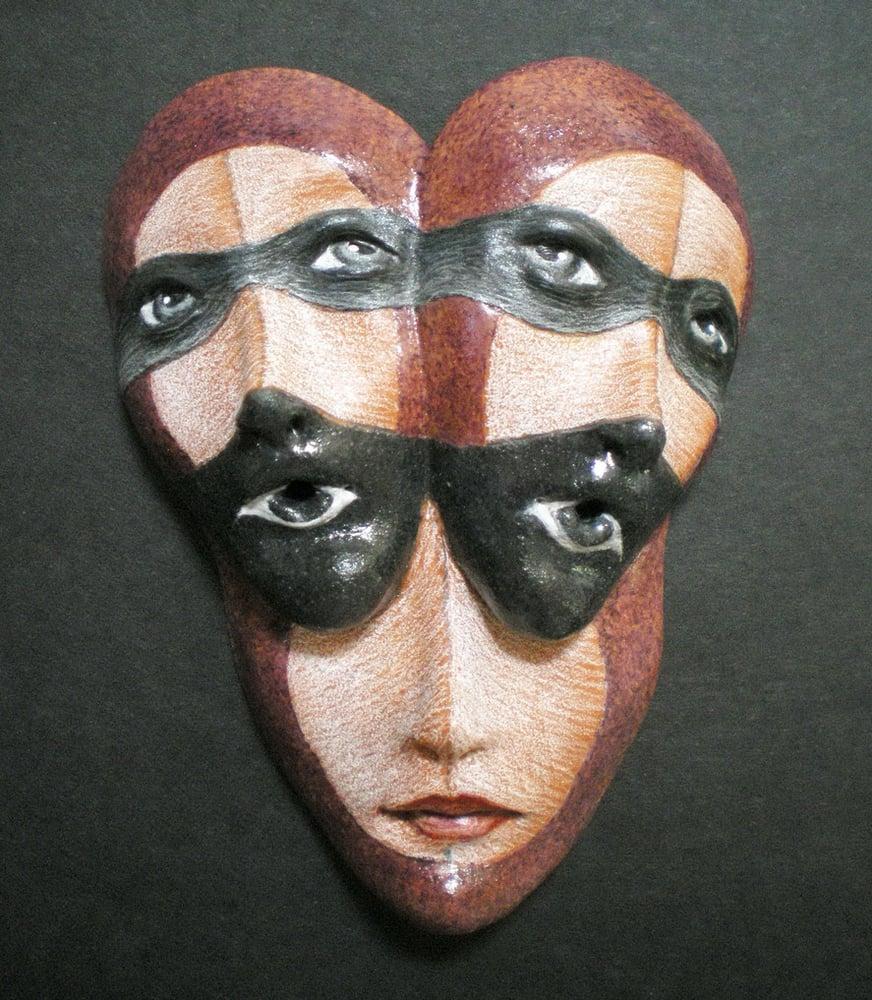 Image of Altered Ego - Mask Sculpture, Ceramic Mask Pendant, Original Mask Art