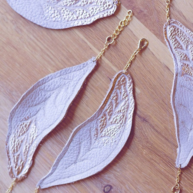 Image of Gold Brushed Feather leather bracelet