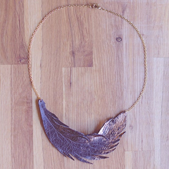 Image of Gold Brushed Feather leather necklace