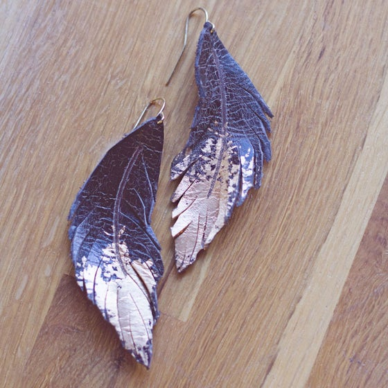 Image of Gold Brushed Feather leather earrings