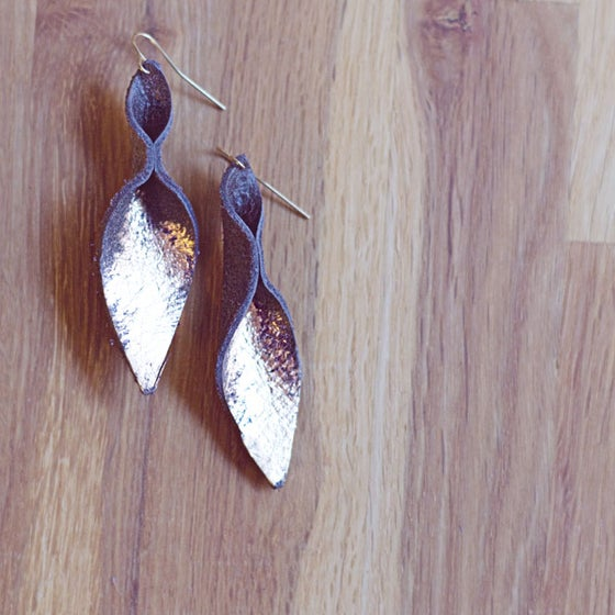 Image of Gold Brushed Foxtail leather earrings