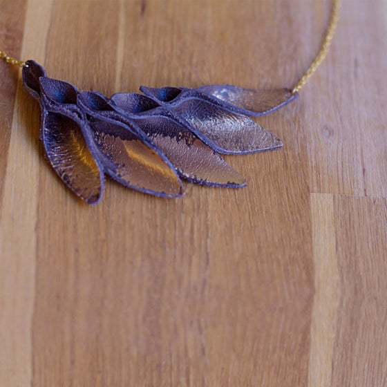 Image of Gold Brushed Foxtail leather necklace