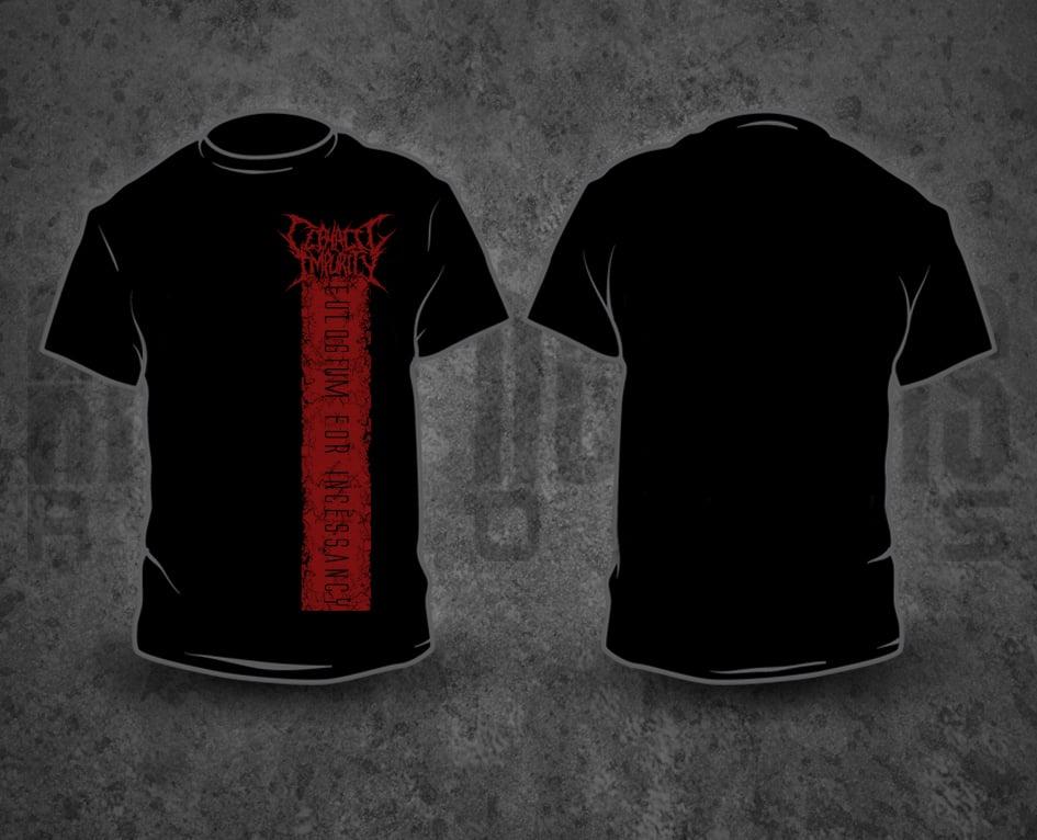 Image of CEPHALIC IMPURITY - Red Pile / Black T-Shirt