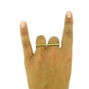 Image of BAR FIGHT: Rectangle Double Finger Ring