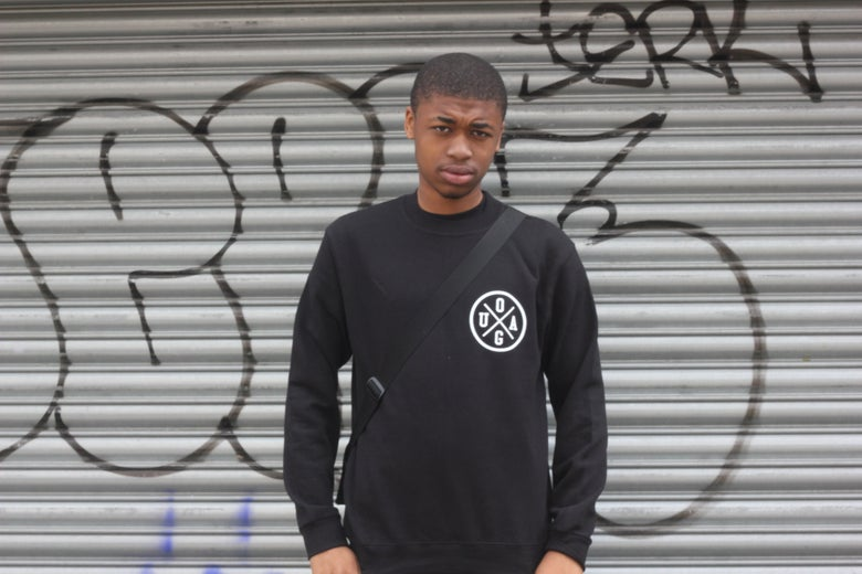 "Image of ""London 43"" Black Jumper w/ White Print"