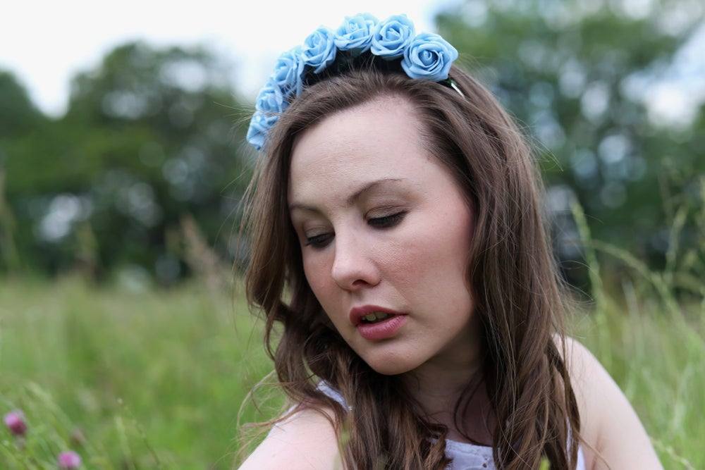 Image of Ring of Roses Crown Cornflower Blue