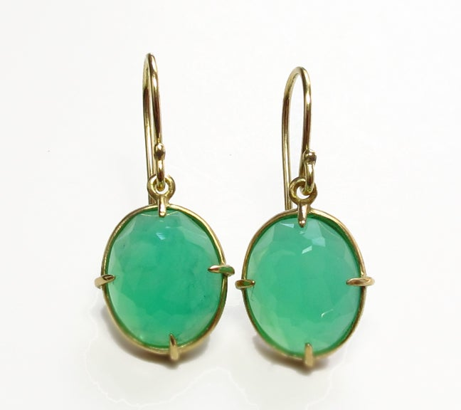 Image of Chrysoprase Minimal Earring 18k Faceted