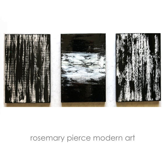 Image of 'BLACK, WHITE & SILVER' | Large Black and White Painting | Black and White Triptych