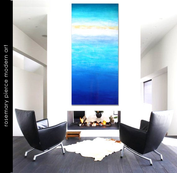 Image of Abstract Original Painting | Blue Wall Art | Wood Art | Ocean Inspired Art | Wall Decor