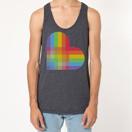 Image of PRIDE HEART TANK HEATHER BLACK