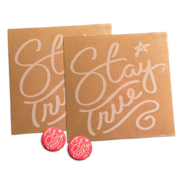 Image of Stay True Sticker & Button Pack