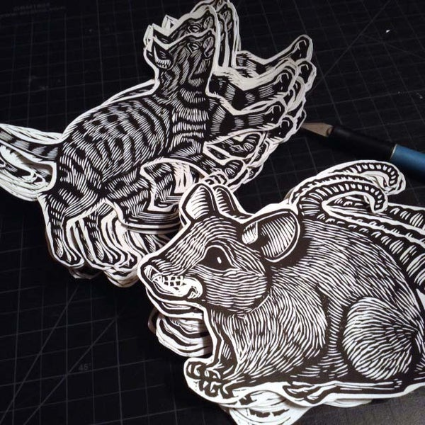 Image of Hand printed Cat and Mouse Stickers