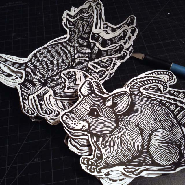 Hand printed Cat and Mouse Stickers
