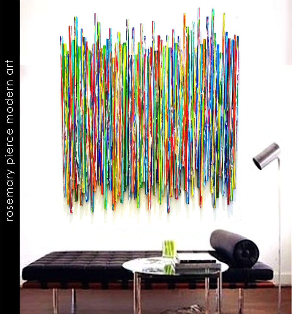 Image of 'LIFE EXPERIENCECS NO22' | Original Mixed Media Abstract | Modern Painted Wood Stick Wall Sculpture