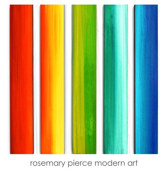 Image of 'OVER THE RAINBOW' | Large Original Abstract Art installation | Painted Wood Panels Wall Sculpture