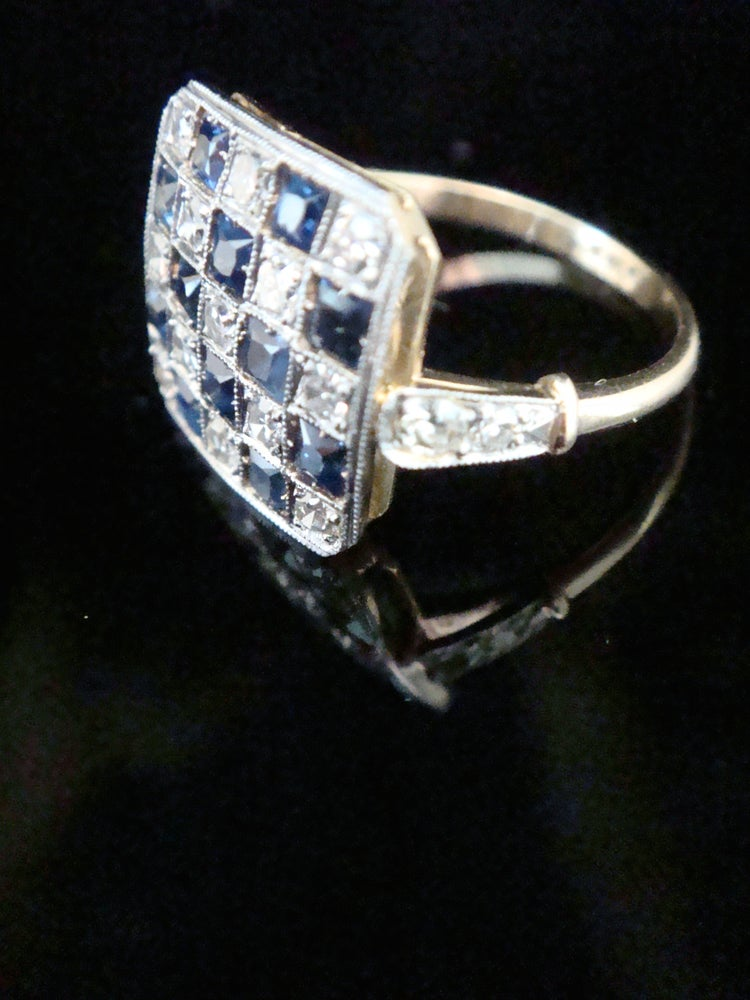 Image of EDWARDIAN 1920S 18CT PLATINUM ART DECO PAVE SAPPHIRE OLD CUT DIAMOND RING