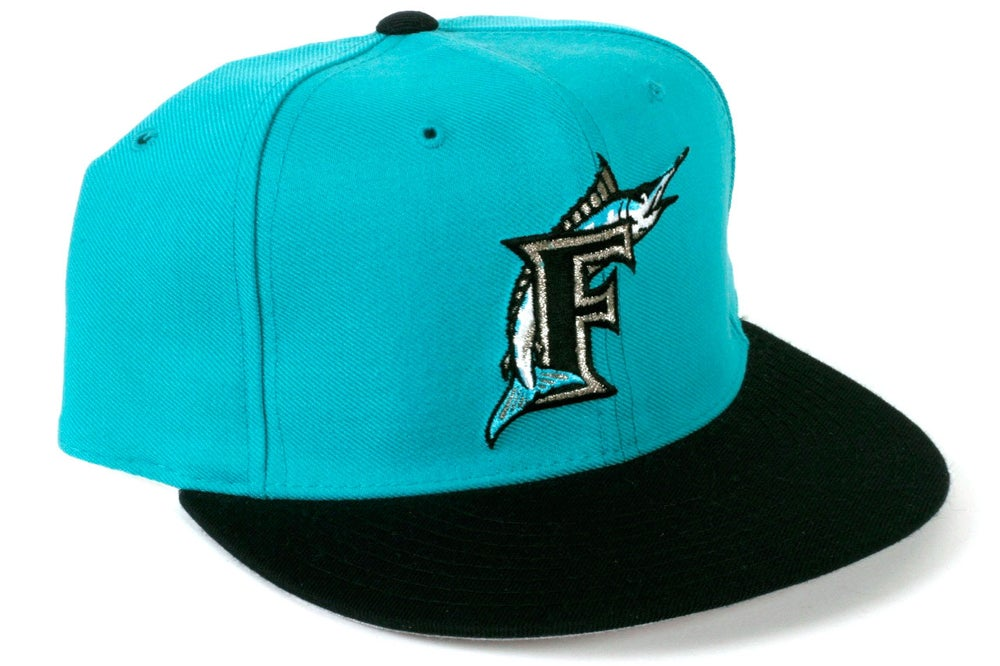 Image of  10 Vintage New Era Florida Marlins Hat - TEAL   BLACK - Free  Shipping 16f6bdc2131