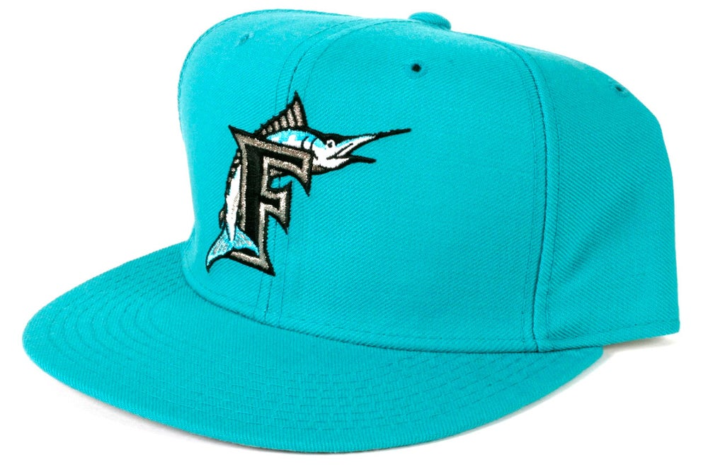 5f783e7dd85 Image of  10 Vintage New Era Florida Marlins Hat - ALL TEAL - Free Shipping