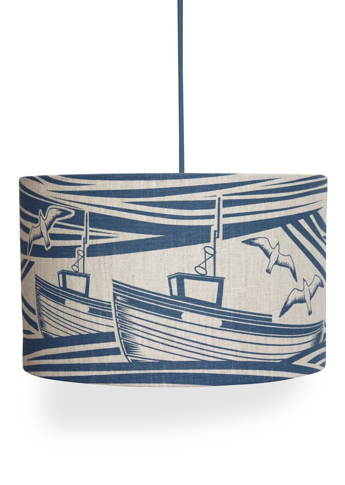 Image of Whitby Linen Lampshade - Washed Denim