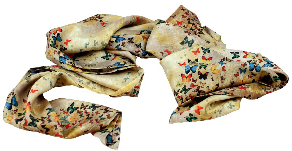 Image of Limited Edition Lily Greenwood 100% Silk Scarf - Summer Butterflies