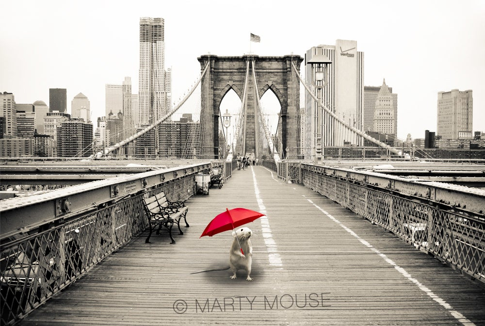Image of Marty on the Brooklyn Bridge - FINE ART PRINT