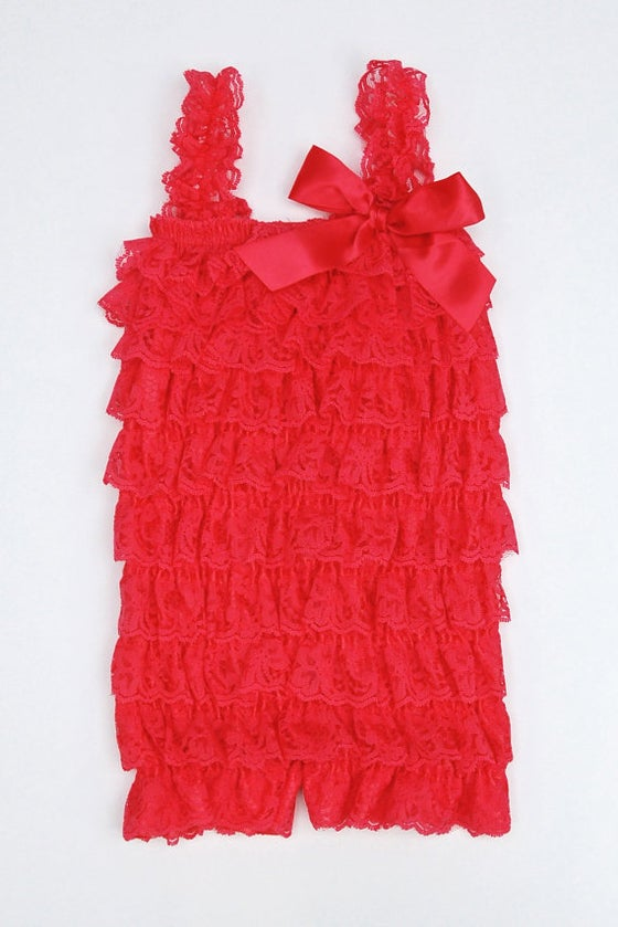 Image of Ruffled Frill Lace Romper | Strawberry