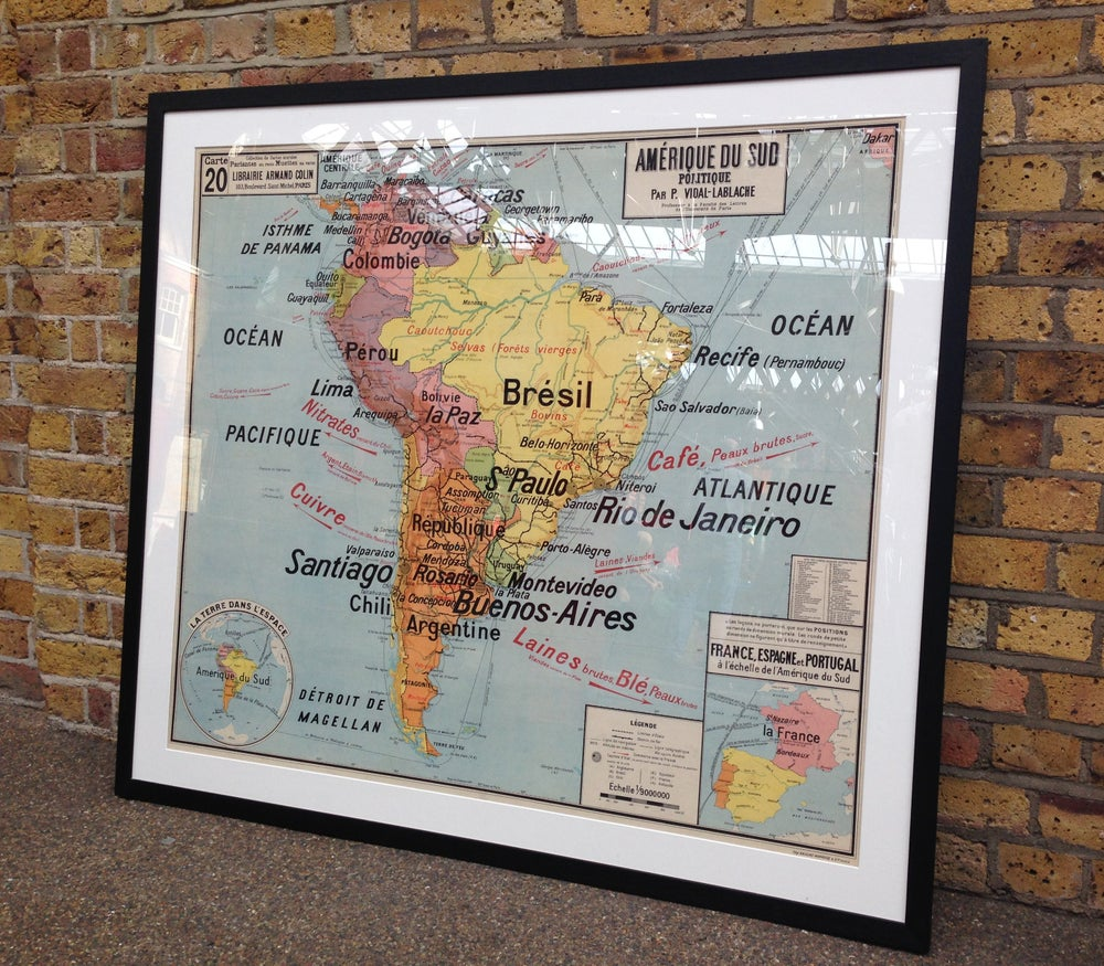 Image of 1960s Map of South America
