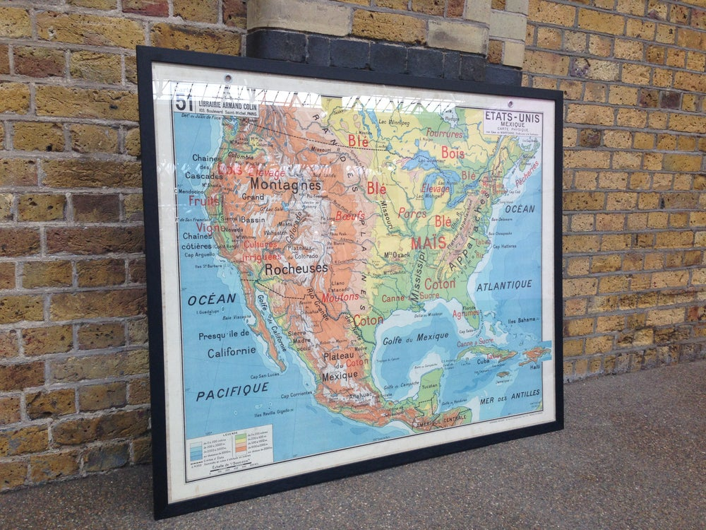 Image of 1960s Relief Map of North America
