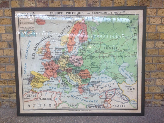 Image of 1950s Political Map of Europe