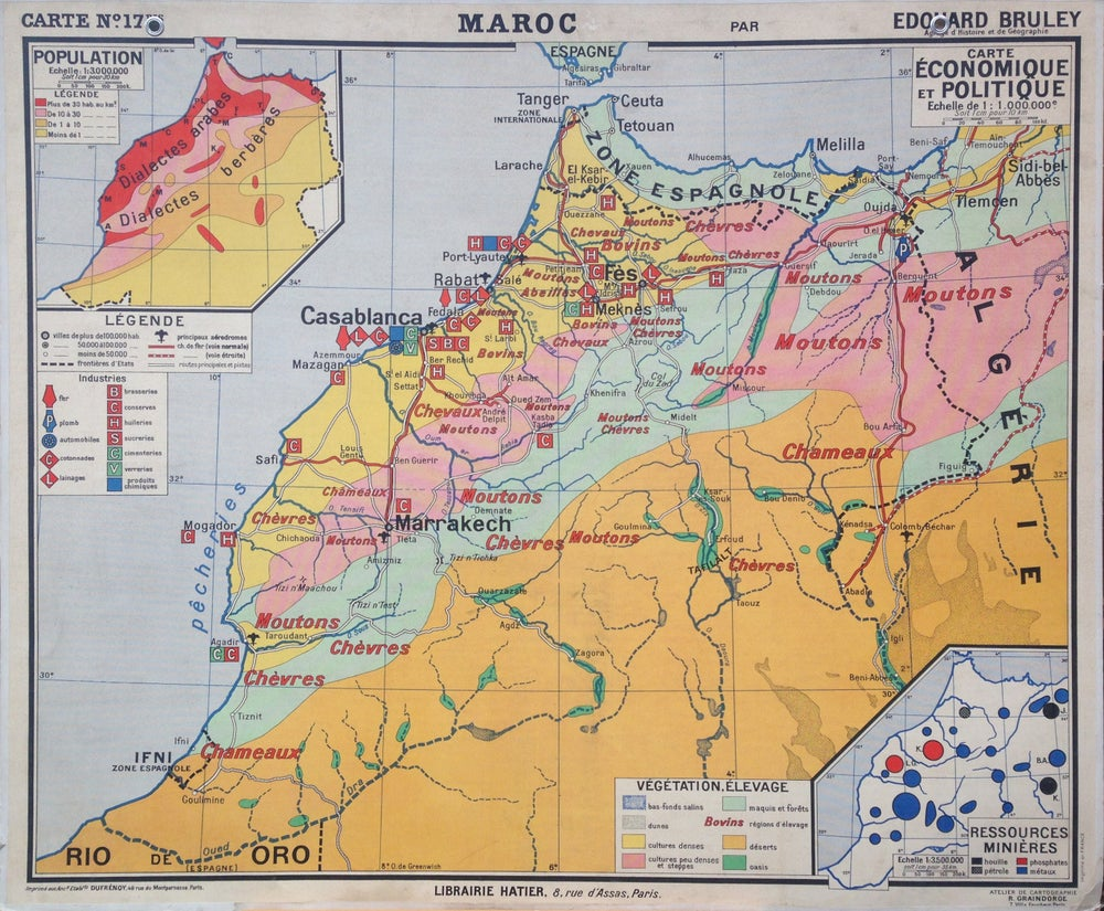 Image of 1960s Map of Morocco