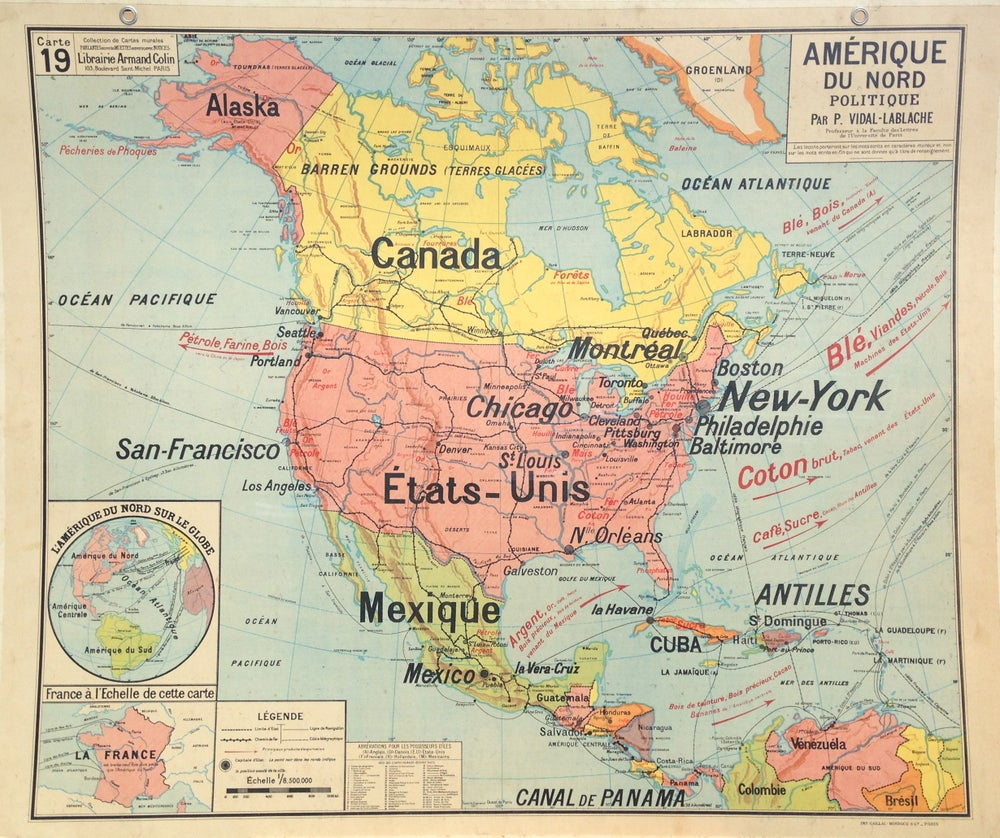 Image of 1960s Political Map of North America